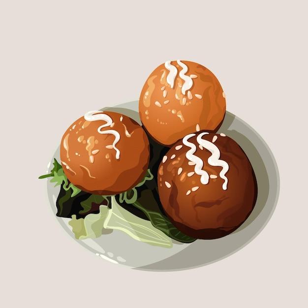 Takoyaki met salade plat ontwerp Gratis Vector