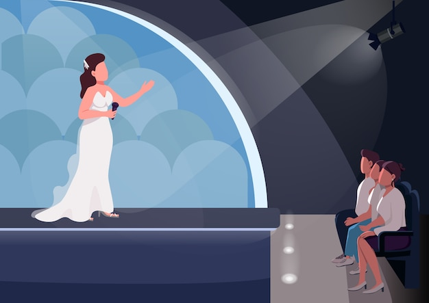 Talent show egale kleur illustratie Premium Vector
