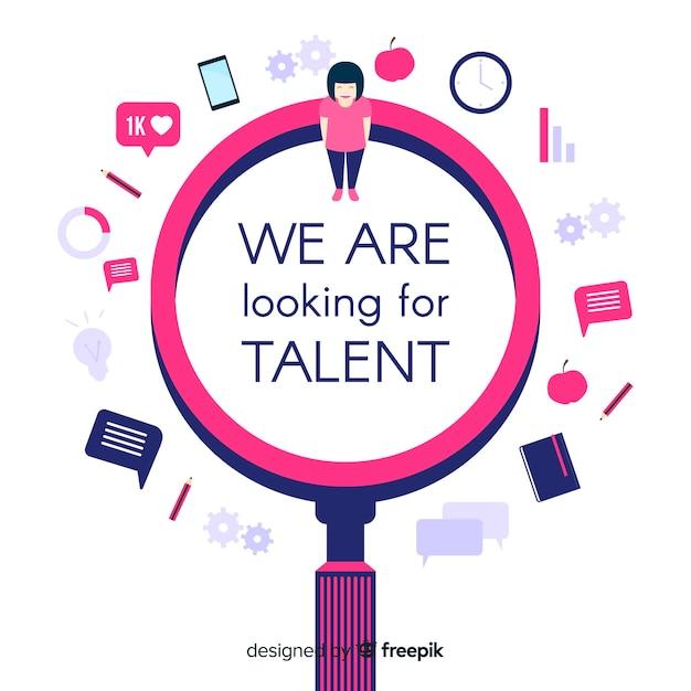 Talent zoeken vergrootglas achtergrond Gratis Vector