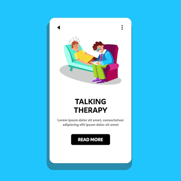 Talking therapy session psychiatry cabinet Premium Vector