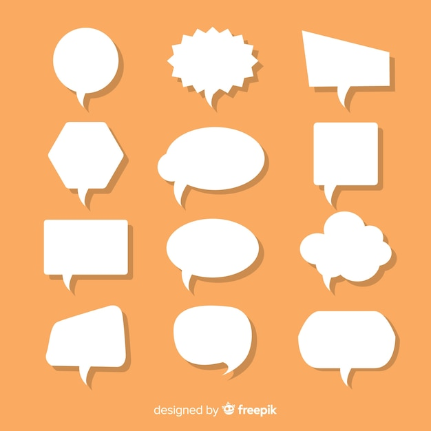 Talrijke platte papieren stijl tekstballonnen Gratis Vector