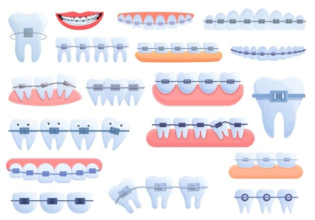 Tand bretels pictogrammen instellen. cartoon set van tand beugels iconen voor web Premium Vector