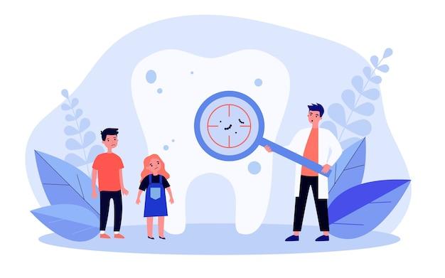 Tandarts cariës op tand tonen aan kinderen Premium Vector