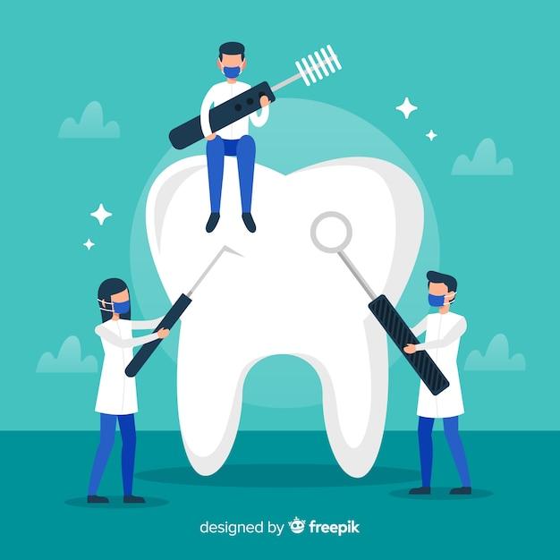 Tandarts die grote tandachtergrond schoonmaken Gratis Vector