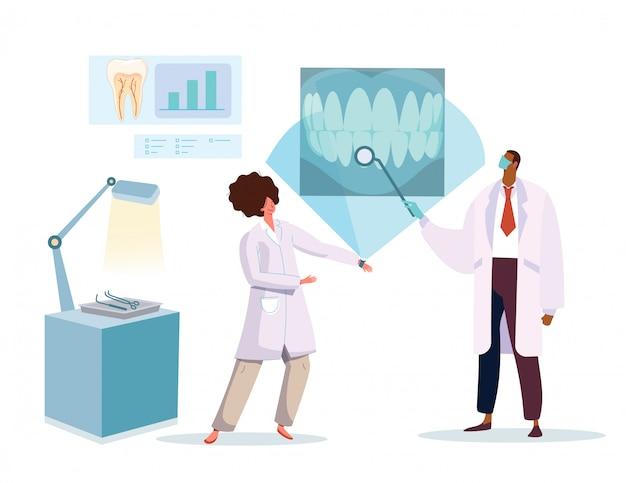 Tandarts en verpleegster die x-ray beeld van gezonde tanden, vectorillustratie bekijken Premium Vector