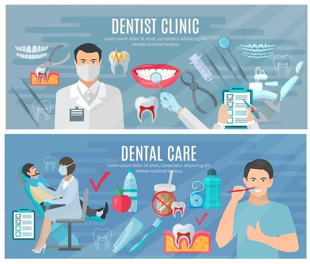Tandarts horizontale die banners met kliniek en tandzorgsymbolen worden geplaatst Gratis Vector