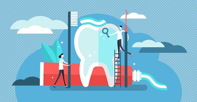 Tandarts illustratie. minipersonen met tandpastaconcept. Premium Vector