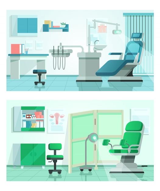 Tandarts kantoor illustratie, cartoon tandartsstoel in ziekenhuis interieur, kliniek medische apparatuur, tandheelkunde geneeskunde bestemmingspagina set Premium Vector
