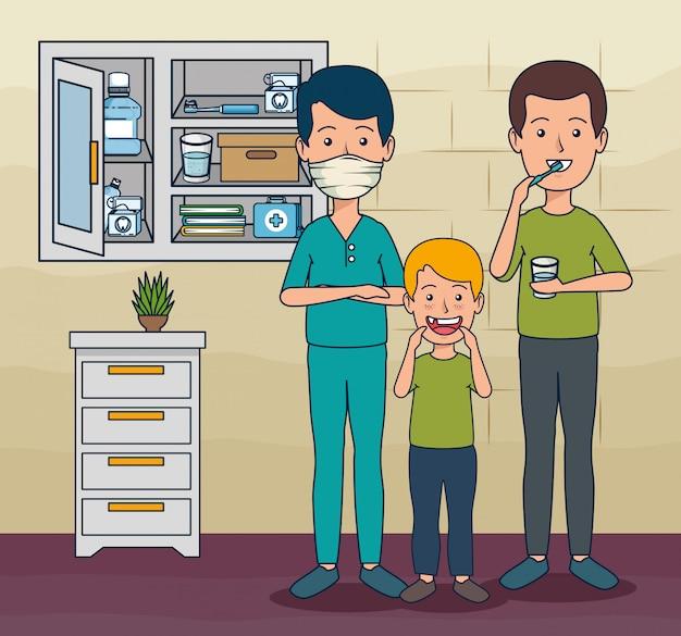Tandarts man en patiënt jongen en man tot tanden zorg Gratis Vector