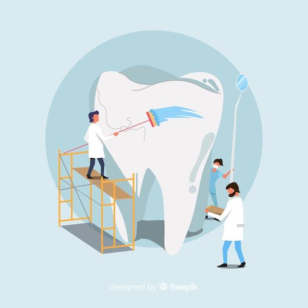 Tandartsen die een tandachtergrond behandelen Gratis Vector