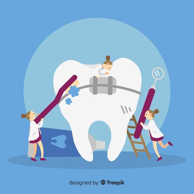 Tandartsen die voor een tand zorgen Gratis Vector