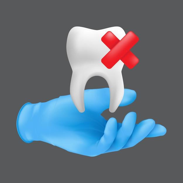 Tandartshand die blauwe beschermende chirurgische handschoen draagt die een keramisch model van de tand houdt. realistische illustratie van het concept van de tandextractie geïsoleerd op een grijze achtergrond Premium Vector