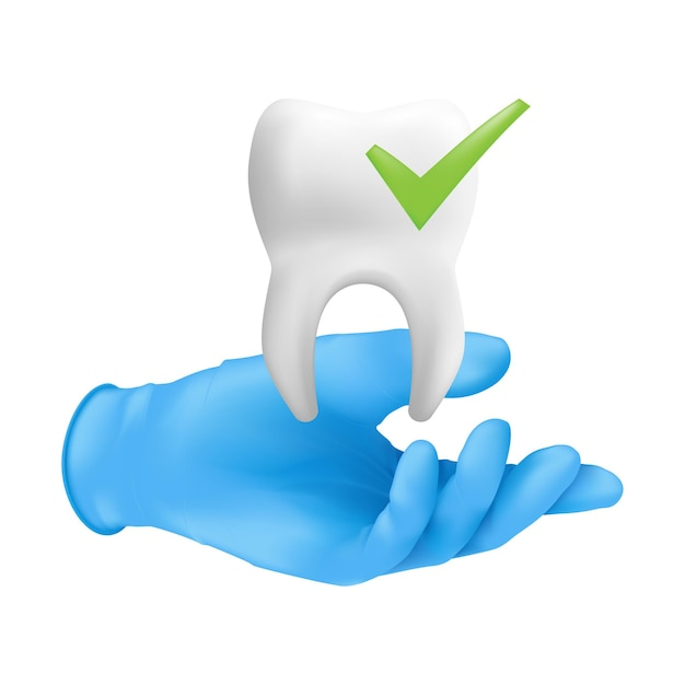 Tandartshand die blauwe beschermende chirurgische handschoen draagt die een keramisch model van de tand houdt. Premium Vector