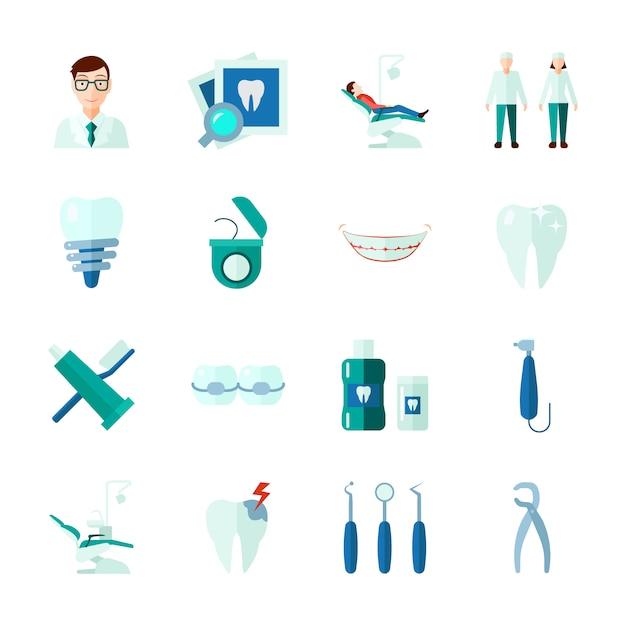 Tanddiepictogrammen met tanden medische instrumenten en geïsoleerde kliniekvlakte worden geplaatst Gratis Vector