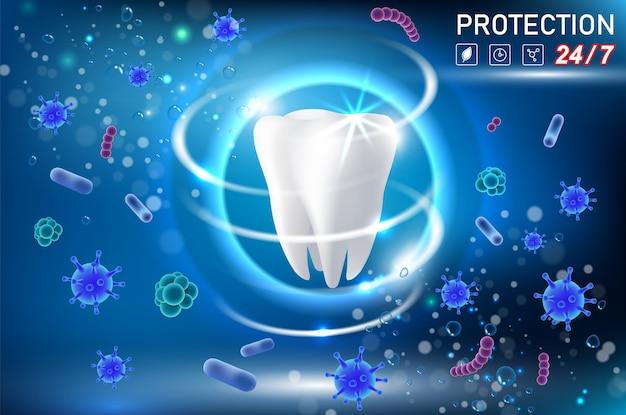 Tanden bescherming vector realistische illustratie Premium Vector