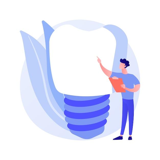 Tanden kunstgebit implantaten abstract begrip vectorillustratie. kunstgebit implantaat, tanden bleken, tand permanente vervanging, cosmetische tandheelkunde, orthodontische zorg procedure abstracte metafoor. Gratis Vector