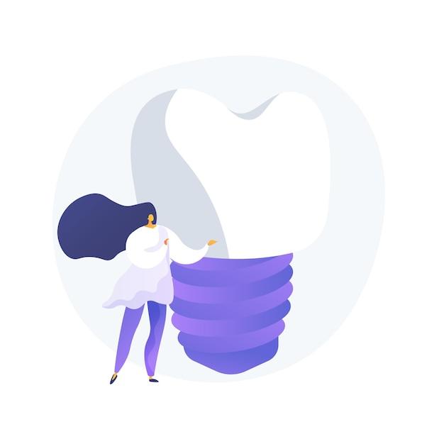 Tanden kunstgebit implantaten abstract concept vectorillustratie. kunstgebit implantaat, tanden bleken, tand permanente vervanging, cosmetische tandheelkunde, orthodontische zorg procedure abstracte metafoor. Gratis Vector