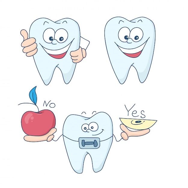 Tanden met beugels. Premium Vector