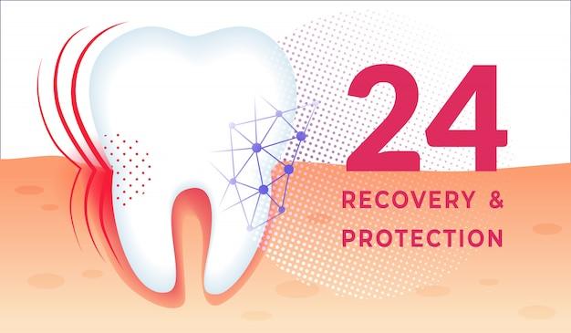 Tanden verzorgen poster met enorme gezonde tand in kauwgum. Premium Vector