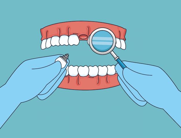 Tandenbehandeling met mondspiegel en prothese Gratis Vector