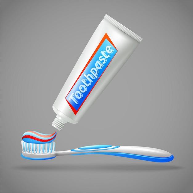Tandenborstel en tandpasta ontwerp pictogrammen Gratis Vector