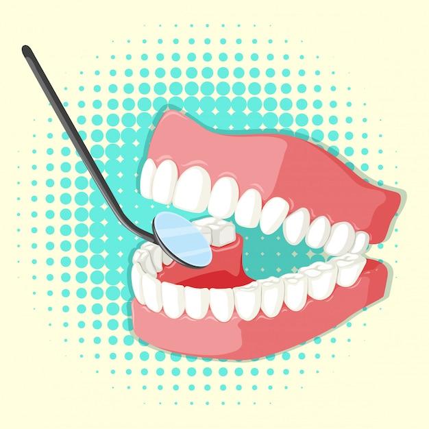 Tandenmodel en spiegel Gratis Vector