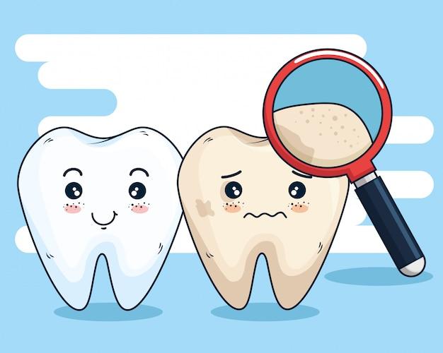 Tandenverzorging en vergrootglas Gratis Vector