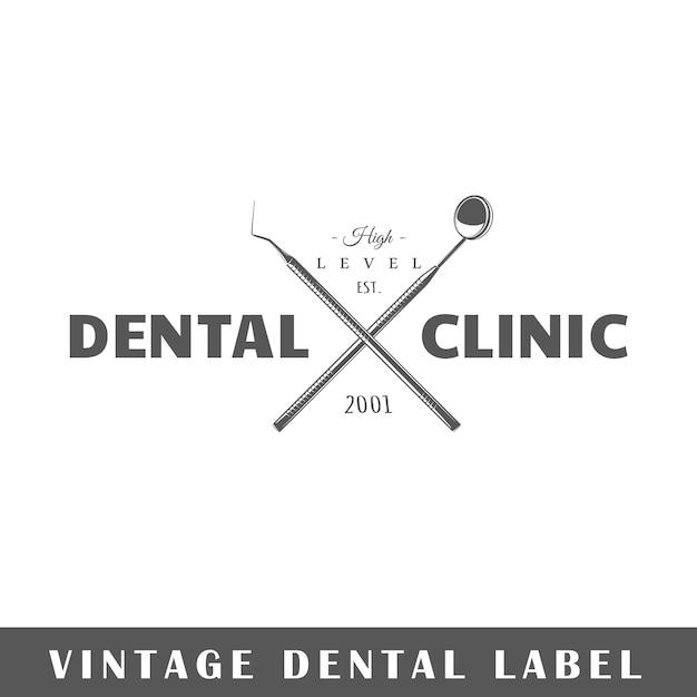Tandetiket op witte achtergrond. element. sjabloon voor logo, bewegwijzering, huisstijl. illustratie Premium Vector