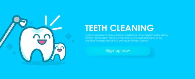 Tandheelkunde banners reiniging van de tanden. leuke kawaiikarakters. Gratis Vector