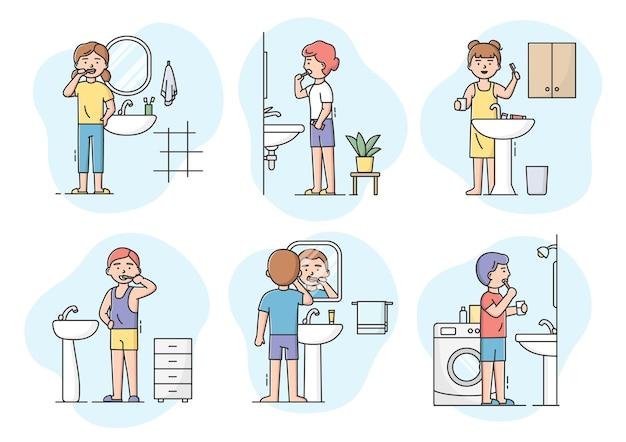 Tandheelkunde en gezondheidszorgconcept. set tekens jongens en meisjes tanden poetsen met tandenborstel in de badkamer. mondhygiënecontrole en tandheelkunde. Premium Vector
