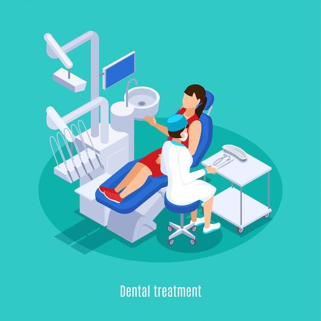 Tandheelkunde tandheelkundige orale geneeskunde praktijk isometrische samenstelling met vrouwelijke patiënt checkup behandeling mint groene achtergrond Gratis Vector