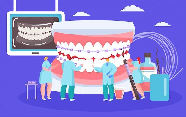 Tandheelkundige beugels illustratie installeren met tandartsen mini mensen met enorme mond orthodontische cocept. Premium Vector