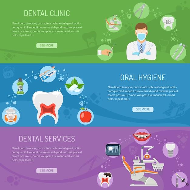 Tandheelkundige diensten horizontaal Premium Vector