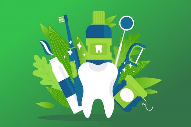 Tandheelkundige gezondheid element, preventie behandeling illustratie. witte cartoon gezonde tand, tandpasta, tandenborstel, mondwater Premium Vector