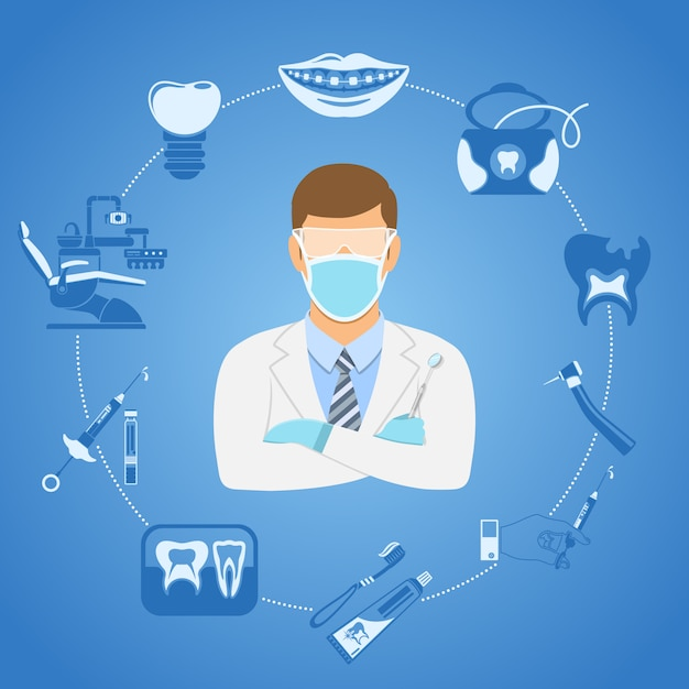 Tandheelkundige kliniek concept Premium Vector