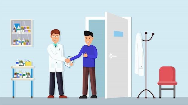 Tandheelkundige kliniek interieur Premium Vector