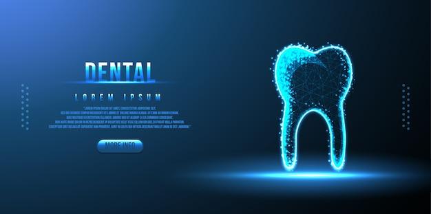 Tandheelkundige laag poly draadframe Premium Vector