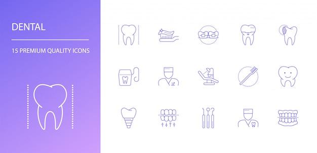 Tandheelkundige lijn pictogrammen instellen Premium Vector