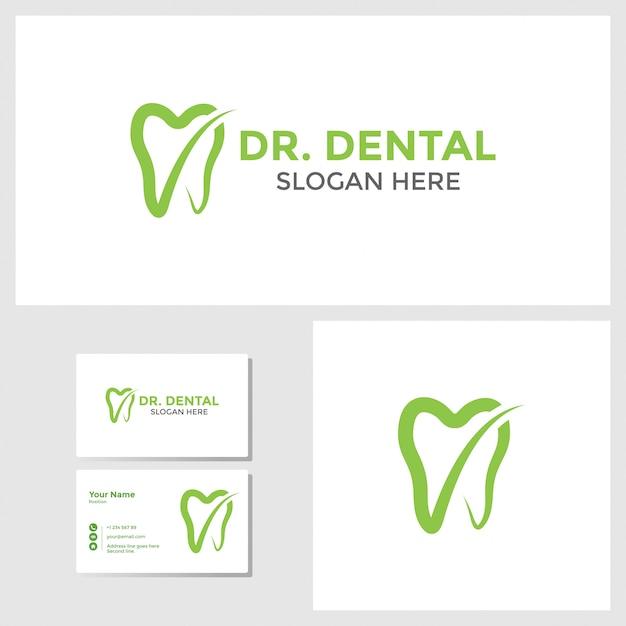Tandheelkundige logo ontwerp inspiratie met visitekaartje mockup Premium Vector