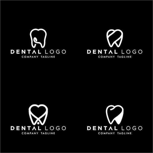 Tandheelkundige premade logo monogram eenvoudige tanden set Premium Vector