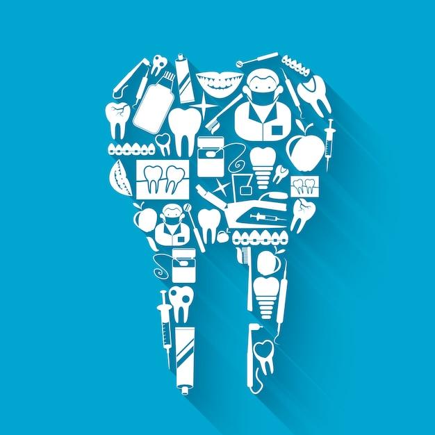 Tandheelkundige zorg achtergrond ontwerp Gratis Vector