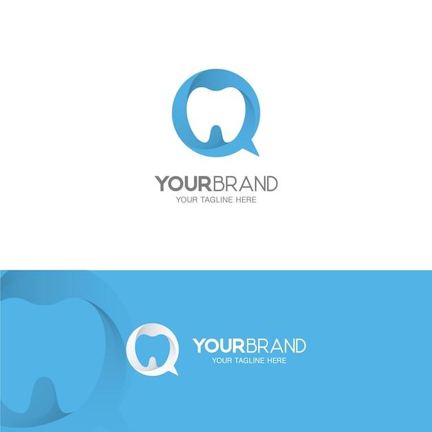 Tandheelkundige zorg en dental talk-logo Premium Vector