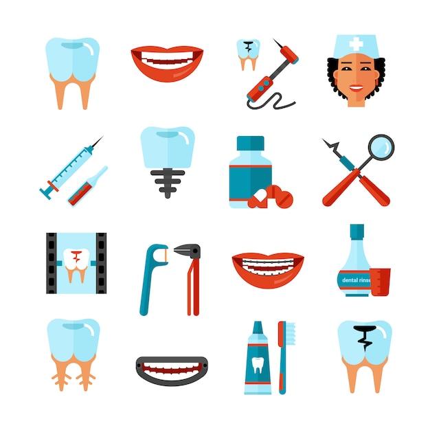 Tandheelkundige zorg icon set Gratis Vector