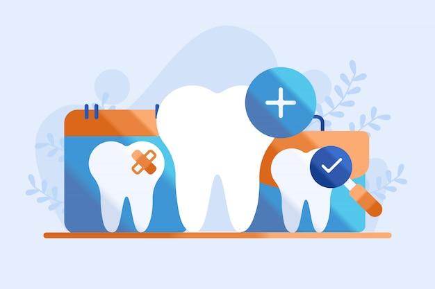 Tandheelkundige zorg illustratie Premium Vector