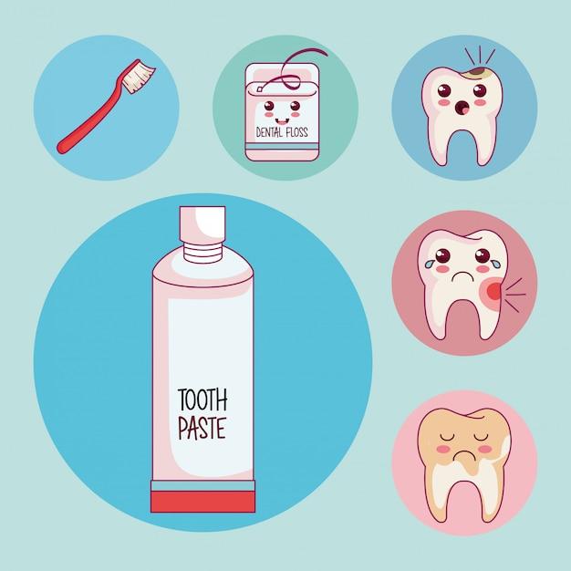 Tandheelkundige zorg set pictogrammen Gratis Vector