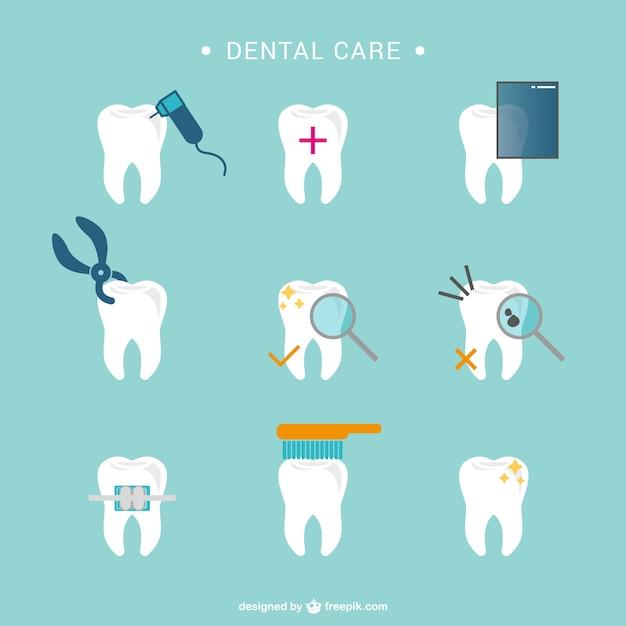 Tandheelkundige zorg tand pictogrammen Gratis Vector