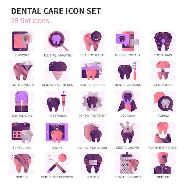 Tandheelkundige zorg, tandheelkunde apparatuur pictogrammen instellen Premium Vector