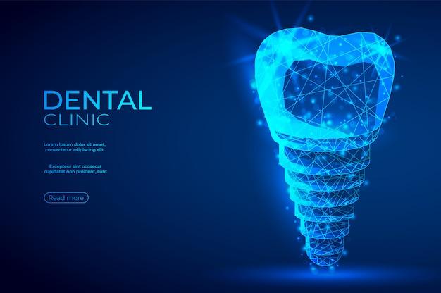 Tandimplant veelhoekige genetische manipulatie abstracte blauwe banner. Premium Vector