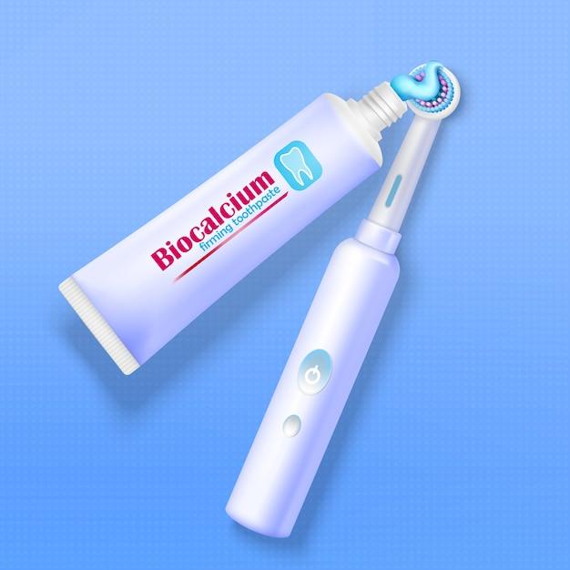 Tandpasta en tandenborstel Gratis Vector