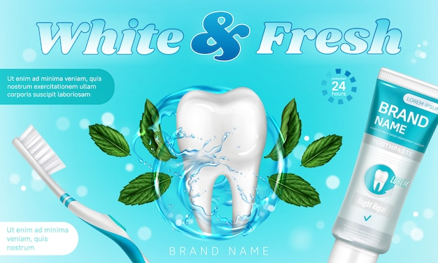 Tandpasta met munt en tandenborstel promoposter Gratis Vector